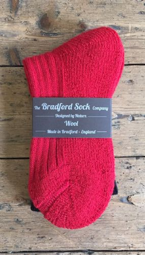 Ideal Walking Socks - Red  with Terry Foot - Machine Washable.